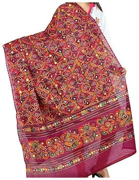 Decorative Cotton Kutch Print Dupatta With Aari Embroidery & Mirror Stickers work Wrap Neck Scarf Fashionable Stole - For Girls Women's
