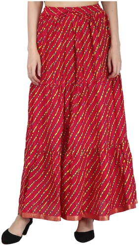 Decot Paradise Printed Flared Skirt Maxi Skirt - Red
