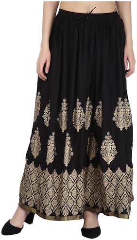 Decot Paradise Printed Flared skirt Maxi Skirt - Black