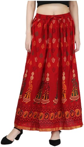 Decot Paradise Printed A-line Skirt Maxi Skirt - Red