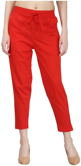 Decot Paradise Women Regular fit Mid rise Solid Regular pants - Red