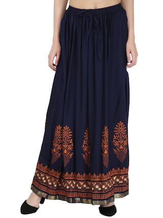 Decot Paradise Printed A-line Skirt Maxi Skirt - Black