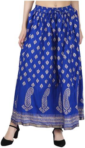 Decot Paradise Printed A-line Skirt Maxi Skirt - Blue