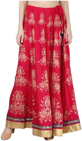 Decot Paradise Printed Flared skirt Maxi Skirt - Pink