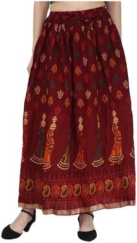 Decot Paradise Printed A-line Skirt Maxi Skirt - Maroon