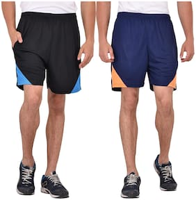 Men Solid Sports Shorts Pack Of 2