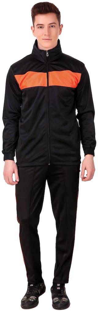 Dee Mannequin Polyester Black Colorblocked  Track Suit For Men