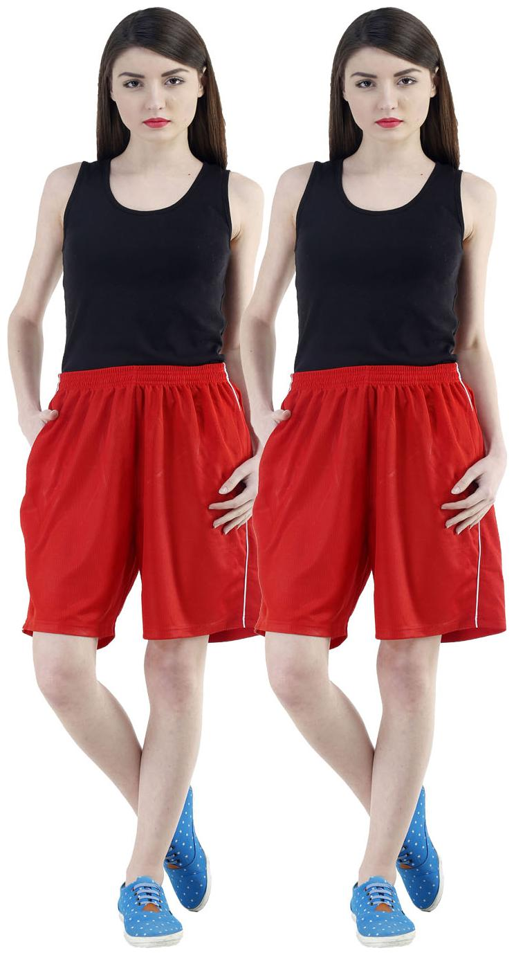 Dee Mannequin Women Loose fit Cotton Solid Shorts   Red