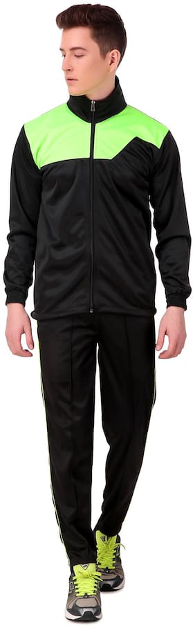 Dee Mannequin Polyester Black Colorblocked  Track Suit For Men