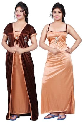 DEEP FASHIONS Brown Nighty with Robe