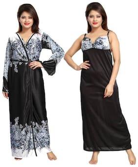DEEP FASHIONS Black Nighty with Robe