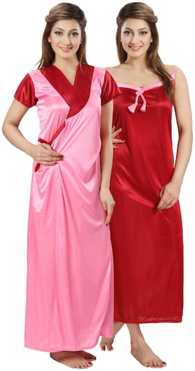 DEEP FASHIONS Pink Nighty with Robe