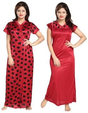 Women Printed Nightdress ,Pack Of 2