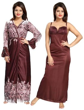 DEEP FASHIONS Satin Nighty with robe Printed Nightwear Brown - (Pack of 2 )