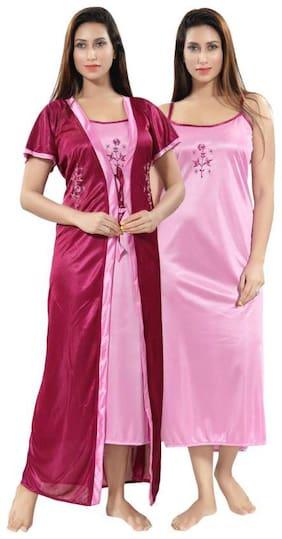 DEEP FASHIONS Pink Nighty with Robe
