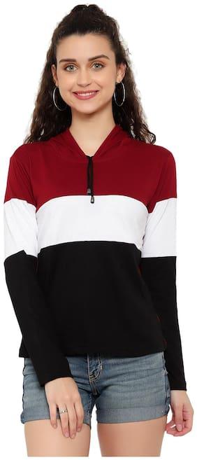 DEEPMAYRA COLLECTION Women Multi Regular fit Hooded Cotton T shirt