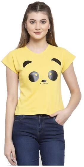 DEEPMAYRA COLLECTION Women Yellow Regular fit Round neck Blended T shirt