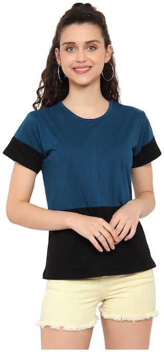DEEPMAYRA COLLECTION Women Blue Regular fit Round neck Cotton T shirt