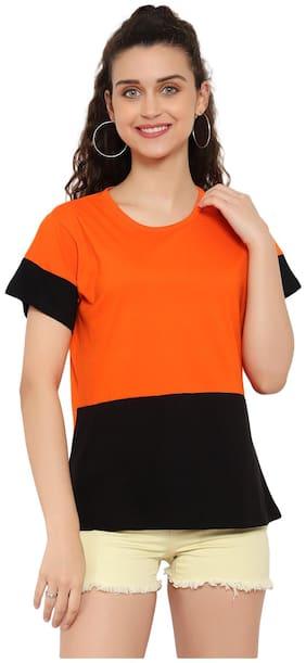 DEEPMAYRA COLLECTION Women Orange Regular fit Round neck Cotton T shirt