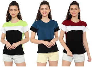 DEEPMAYRA COLLECTION Women Multi Regular fit Round neck Cotton T shirt