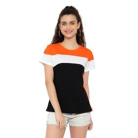 DEEPMAYRA COLLECTION Women Multi Regular fit Round neck Blended T shirt