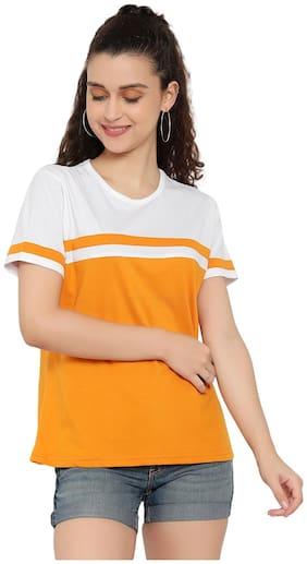 DEEPMAYRA COLLECTION Women Mustard & White Regular fit Round neck Cotton T shirt