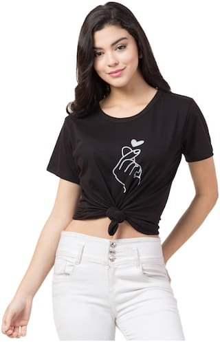 DEEPMAYRA COLLECTION Women Black Regular fit Round neck Blended T shirt