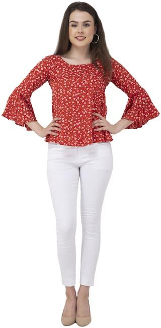 Dege Women Floral Regular top - Red
