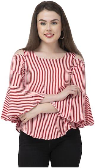 Dege Women Striped Regular top - White