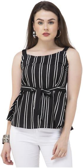 Dege Women Striped Regular top - Black