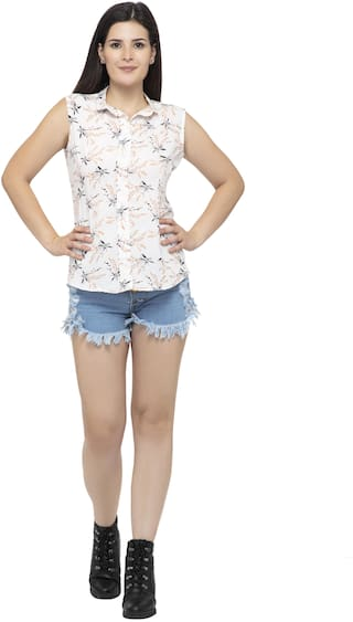 Dege Women White Printed Regular Fit Shirt