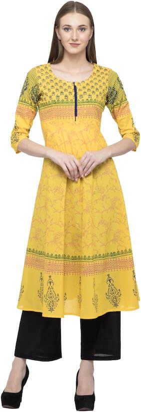 Dege Women Yellow Printed Anarkali Kurta