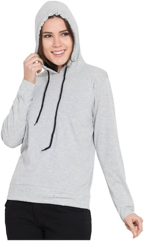 Delux Look Women Solid Hoodie - Grey