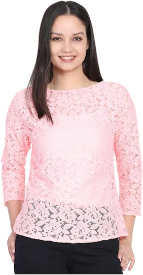 Delux Look Women Cotton Embroidered - Regular top Pink