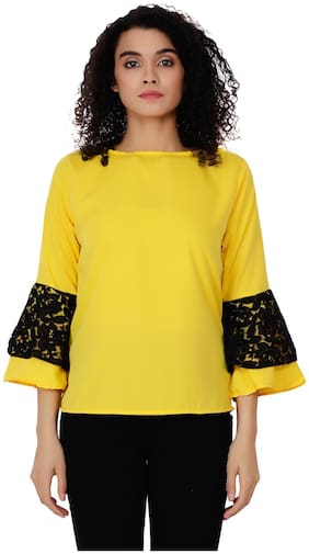 Delux Look Women Embroidered Regular top - Yellow