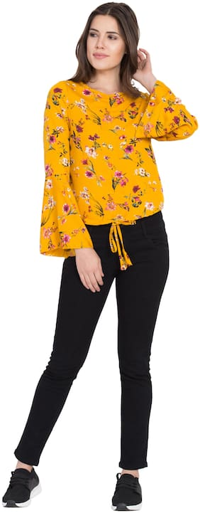 Delux Look Women Embroidered A-line top - Yellow