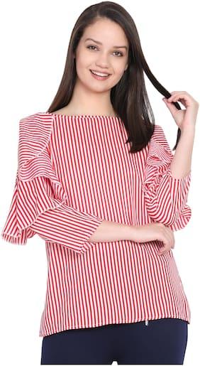 Delux Look Women Embroidered Regular top - Red