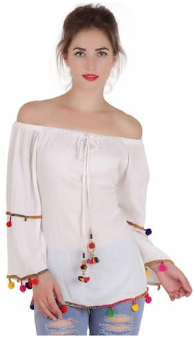 Delux Look Women Embroidered Regular top - White