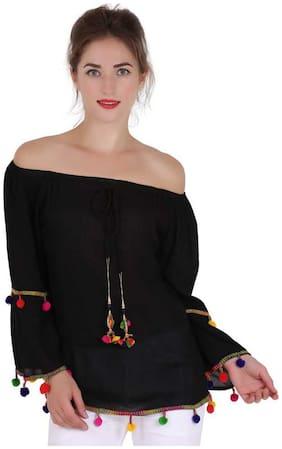 Delux Look Women Embroidered Regular top - Black