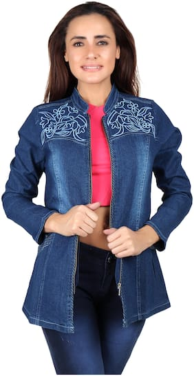 Meer India Garments Women Embroidered Regular Fit Blazer - Blue
