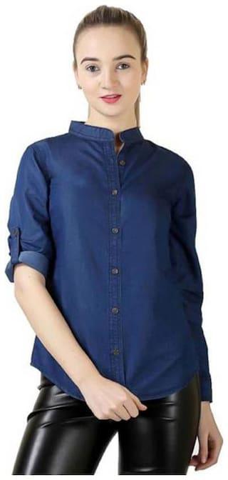 RAFFLESIA TOLPIS Women Blue Solid Regular Fit Shirt
