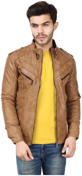 Derbenny Beige Leather jacket for men