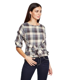 OXOLLOXO Women Cotton Checked - Regular Top Brown