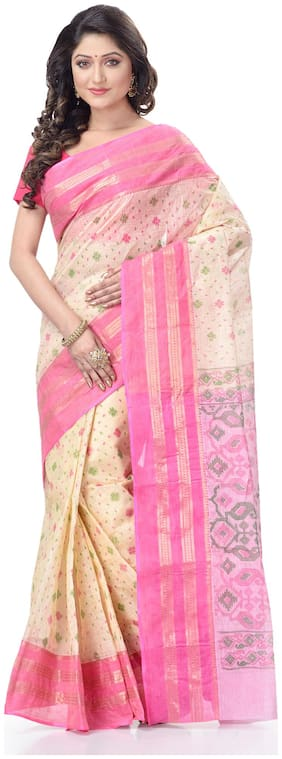 DESH BIDESH Cotton Pink Woven Regular Saree  For Women