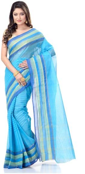 DESH BIDESH  Women Cotton Striped Blue Regular Saree Without Blouse
