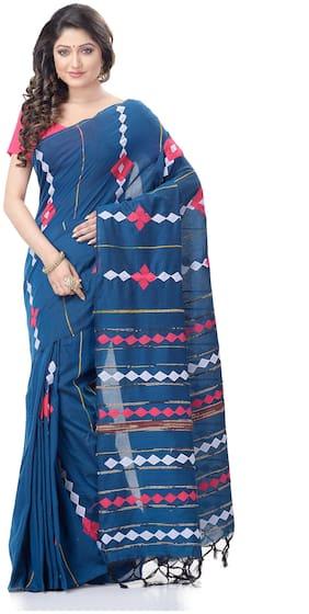 DESH BIDESH Cotton Blue Geometric Regular Saree  For Women