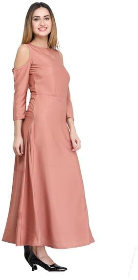 Desi Knots Women Pink Solid Assymetrical Kurta