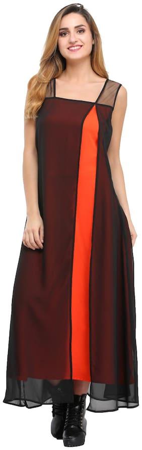 Desi Knots Women Georgette Solid A line Kurti dress - Black