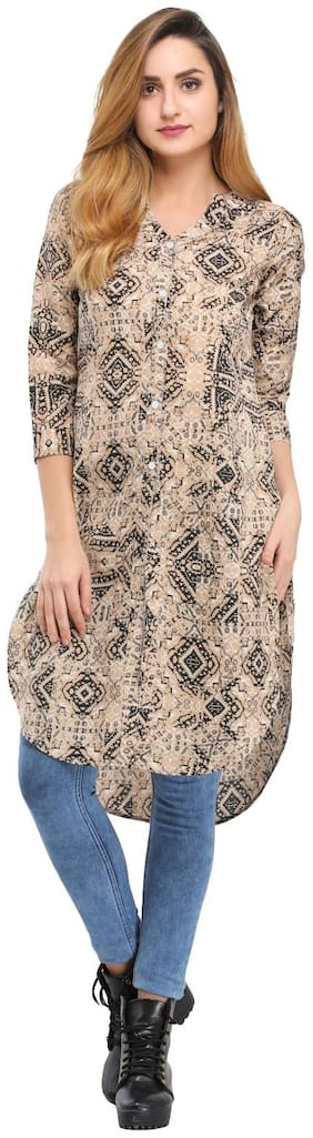 Desi Knots Women Crepe Printed Straight Kurta - Multi