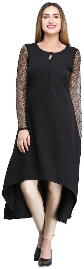 Desi Knots Women Crepe Solid A line Kurti dress - Black